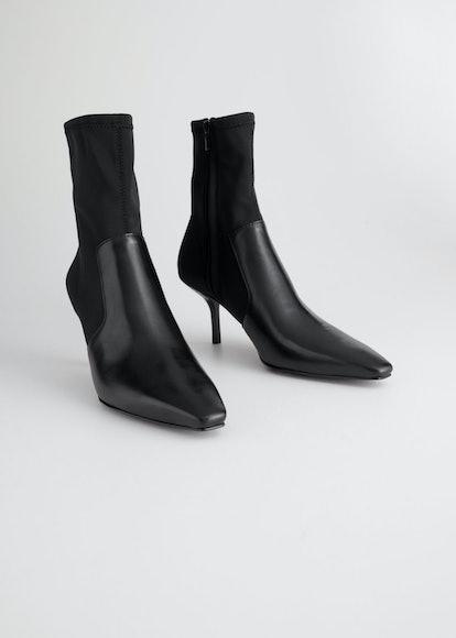 Square Toe Stiletto Sock Boots