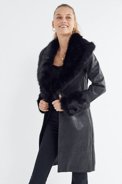 Zelda Faux Leather Faux Fur Trim Jacket