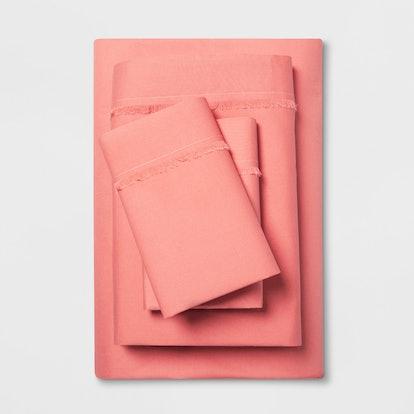 Cotton Percale Solid Fringe Sheet Set