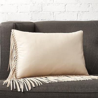"""18""""x12"""" Leather Fringe Saddle Pillow"""