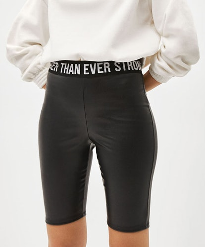 Faux Leather Cyclist-Style Leggings