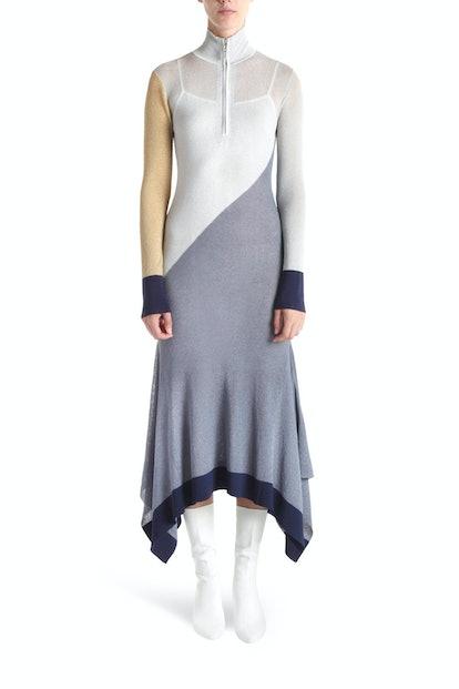 Ettor Metallic Draped Hem Dress With Front Zip Silver
