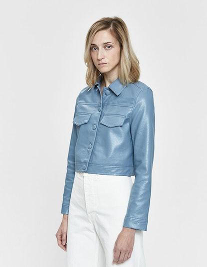 Jill Faux Leather Button Jacket