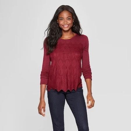 Women's Long Sleeve Lace Front Knit Top - Xhilaration™