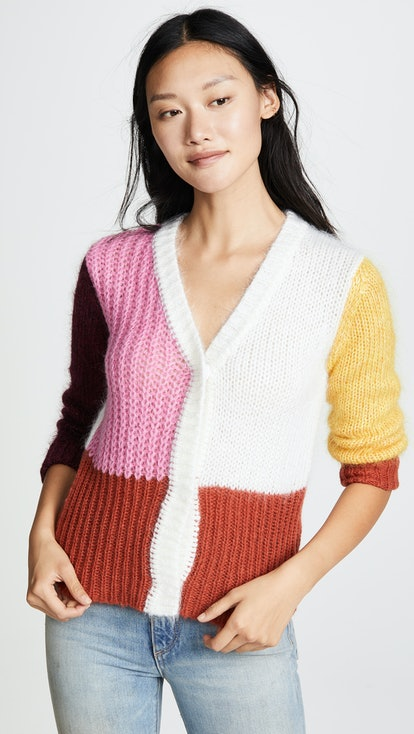 Andrea Mohair Colorblocked Cardigan