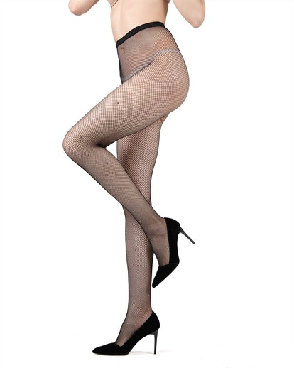 Rhinestone Mini Fishnet Tights