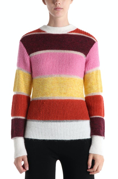 Massimo Mohair Color Blocked Pullover Pink