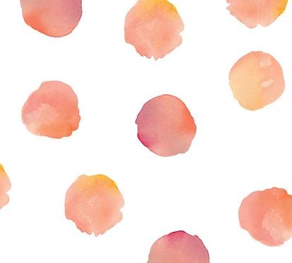 Coral Watercolor Dots Wall Decal