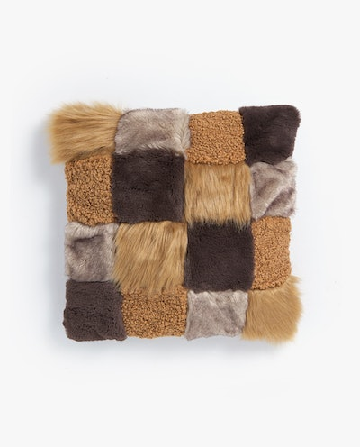 Faux Fur Patchwork Pillow Cover