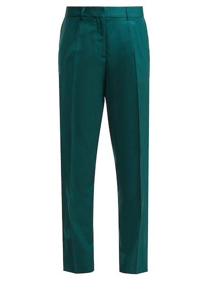 Wool-Crepe Straight-Leg Trousers