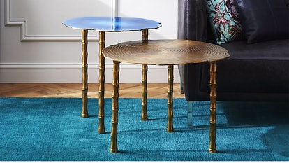 Bronze And Atol Bamboo Bunching Side Tables