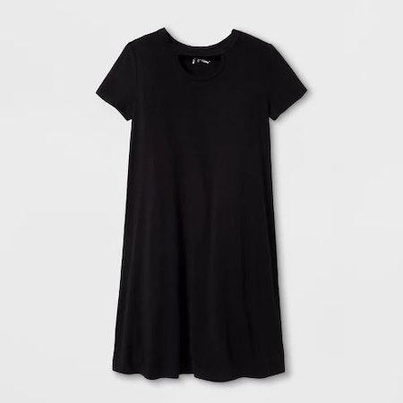 Girls' Short Sleeve Open Neck Dress - art class™ Black