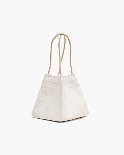Rita White Leather Croc Bag