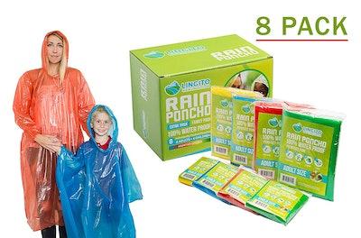 Lingito Rain Poncho Family Pack (8 Pack)