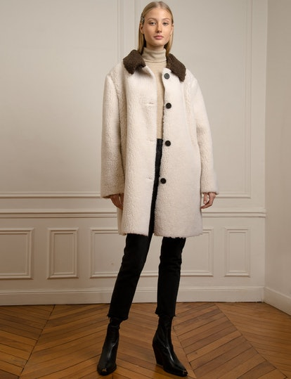 Contrast Color Button Shearling Coat