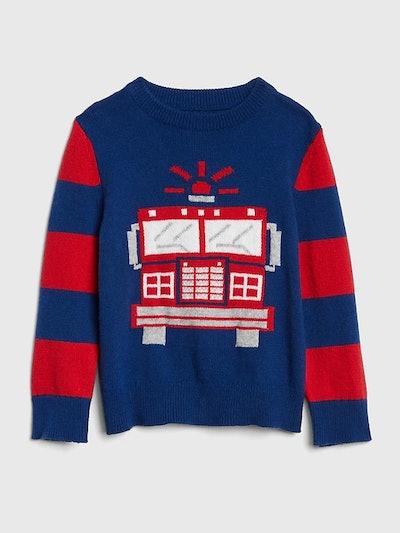 Graphic Stripe Crewneck Sweater