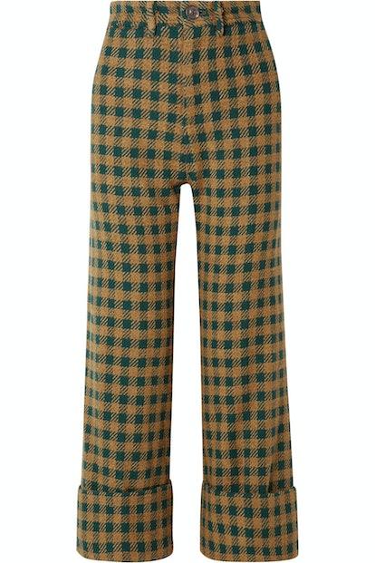 Ethno Pop Checked Wool-Blend Straight-Leg Pants