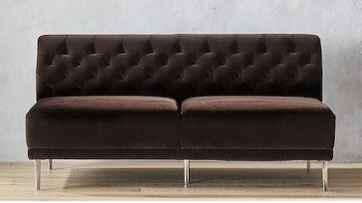Savile Cocoa Brown Velvet Tufted Armless Sofa