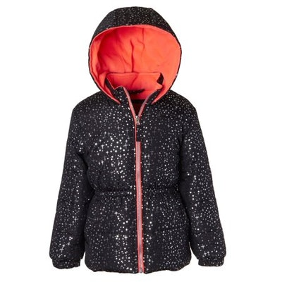 Pink Platinum Foil Printed Hooded Puffer Jacket