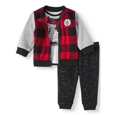 Wonder Nation Baby Boys' Bomber Jacket, T-Shirt, & Jogger Pants Set