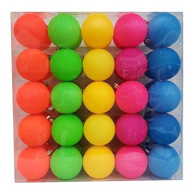 50ct Ornament Set 70mm Neon Multicolor