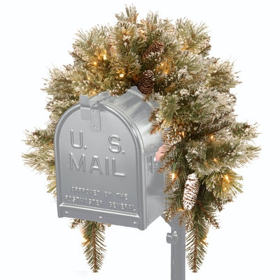 3' Glittery Bristle Pine Mailbox Swag