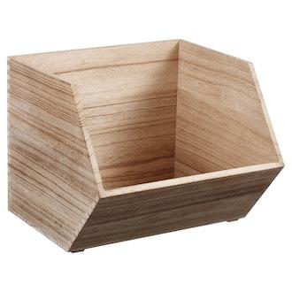 Pillowfort Large Stackable Wood Bin Natural