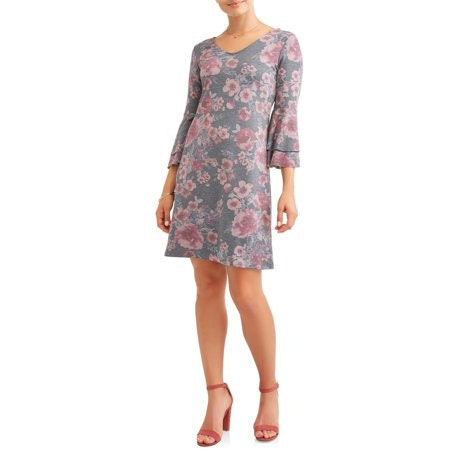 Women's Floral Double Bell Sleeve Dress