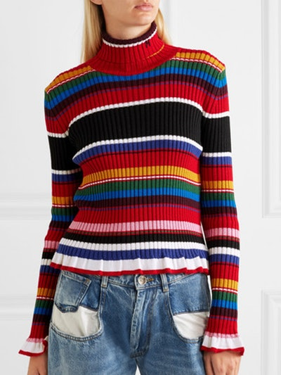 Striped Ribbed Wool-Blend Turtleneck Sweater