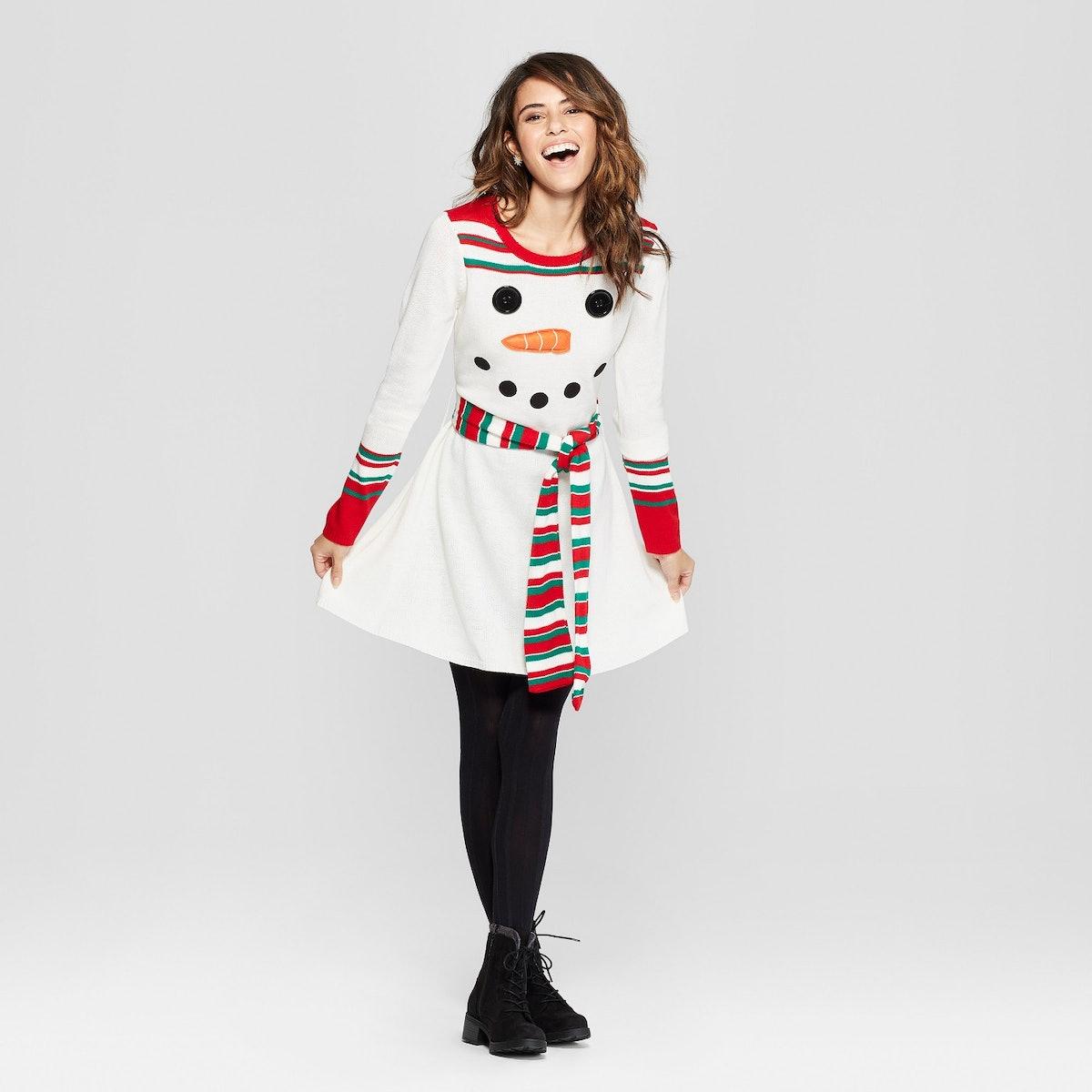 Women's Ugly Christmas Snowman Dress