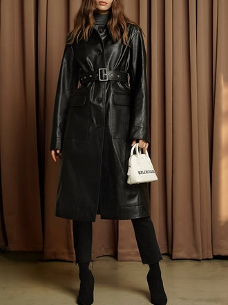 Black Faux Leather Trench Coat