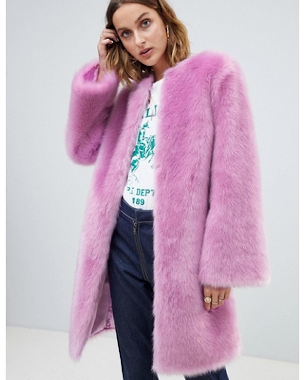 ASOS DESIGN faux fur midi coat with flared sleeve