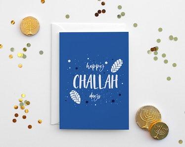 """""""Happy Challah Days"""" Hanukkah Card"""