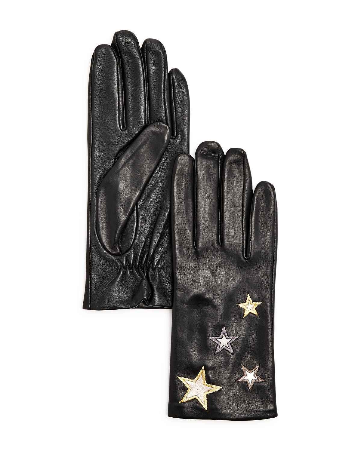 Aqua Star-Embroidered Leather Tech Gloves
