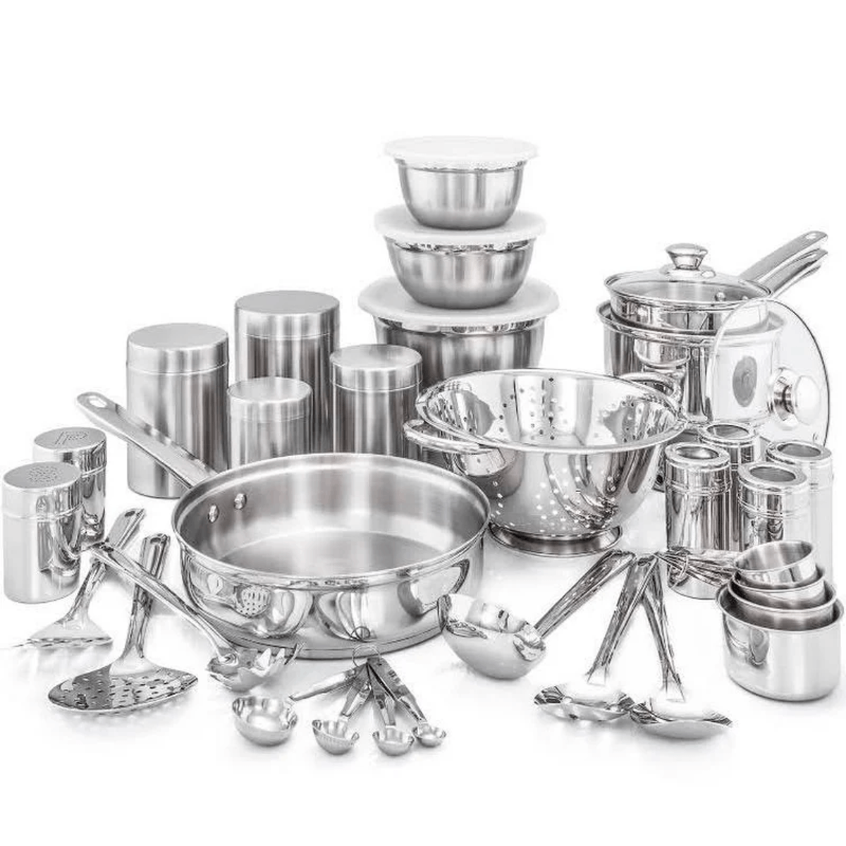 Old Dutch International Kitchen in a Box 36 Piece Stainless Steel Cookware Set, Silver