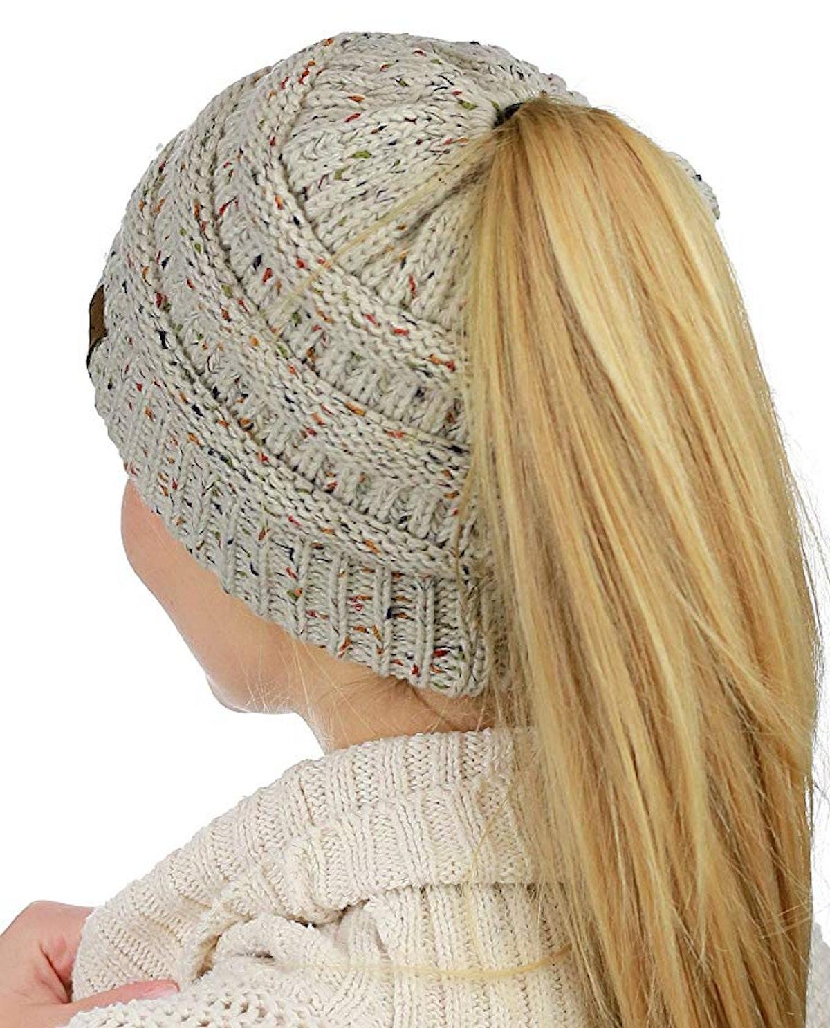C.C Cable Knit Ponytail Beanie