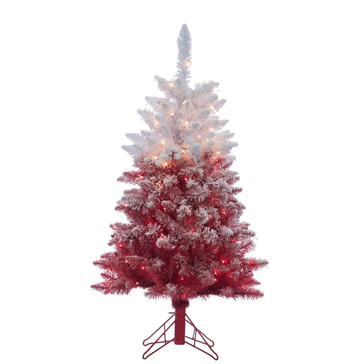 Gerson 4Ft. Flocked Red Ombre Tree with 150 Clear Lights