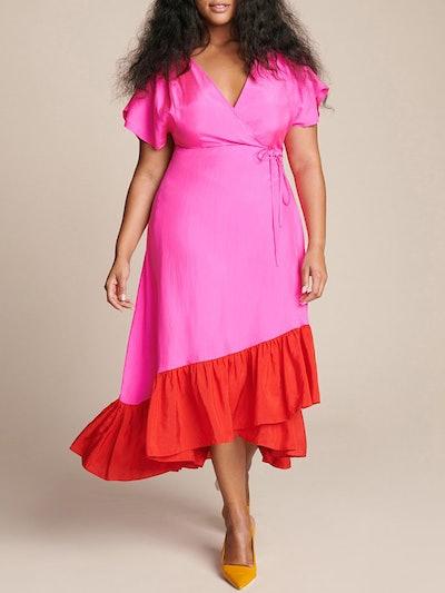 Akari Colorblock Wrap Dress