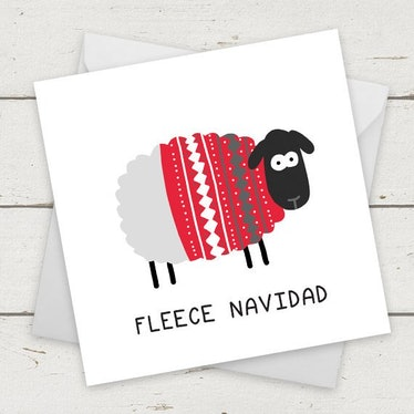 "Christmas Card Sheep ""Fleece Navidad"""