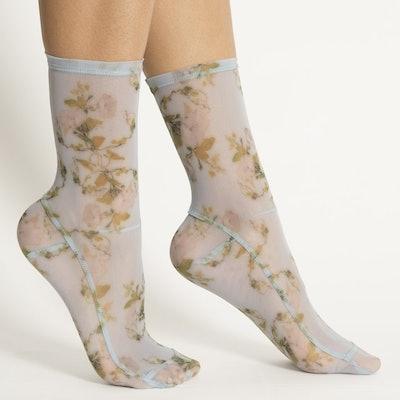 Rosendal Floral Mesh Socks