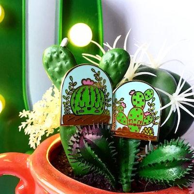 Kawaii Cactus Enamel Lapel Pins