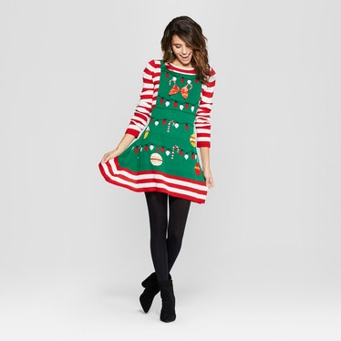 Women's Ugly Christmas Candy Cane Striped Dress