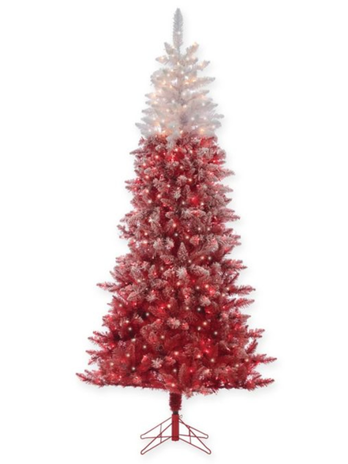 7.5-Foot Flocked Ombre Pre-Lit Christmas Tree in Red with Clear Lights