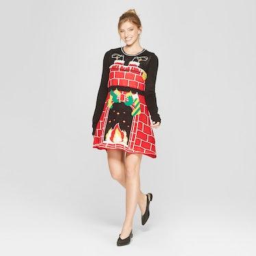 Women's Ugly Christmas Cozy Fireplace Dress