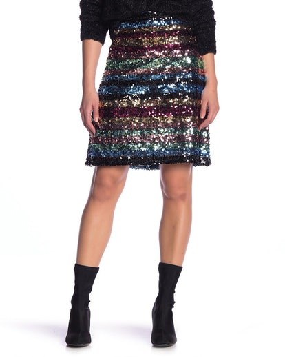 Sequin Stripe Skirt