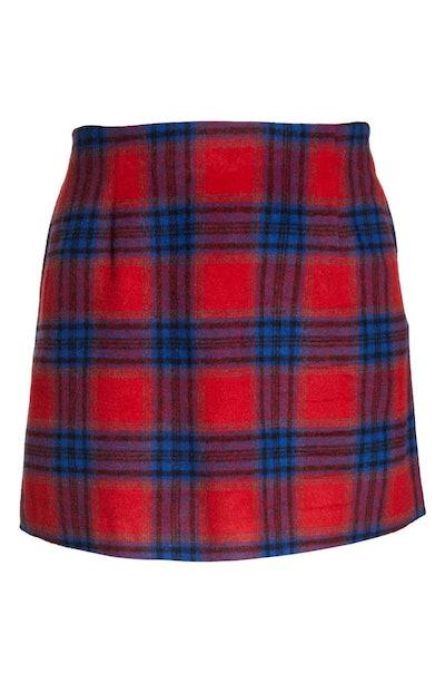 Melton Plaid Miniskirt