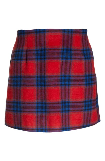 Melton Plaid Miniskirt