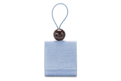 Sky Blue Croco Embossed Ball Bag