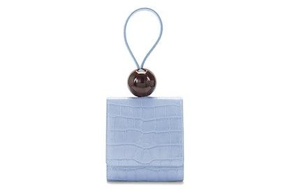 Sky Blue Croco Embossed Ball Bag