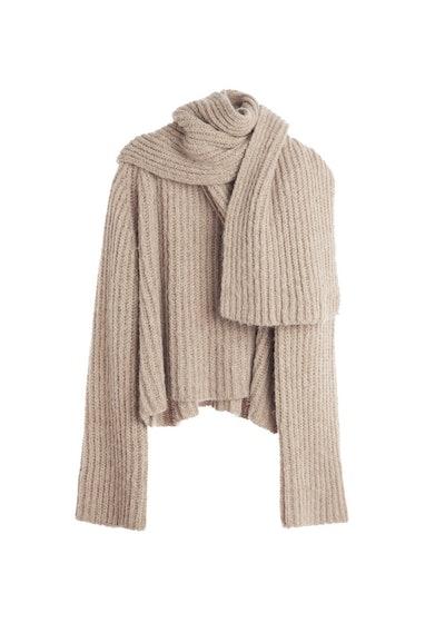 Chunky Rib Knit Scarf Sweater